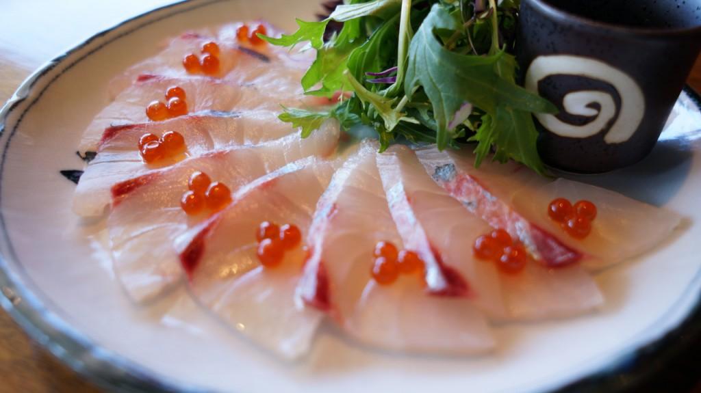Thin sliced trevally sashimi w PONZU citrus sauce